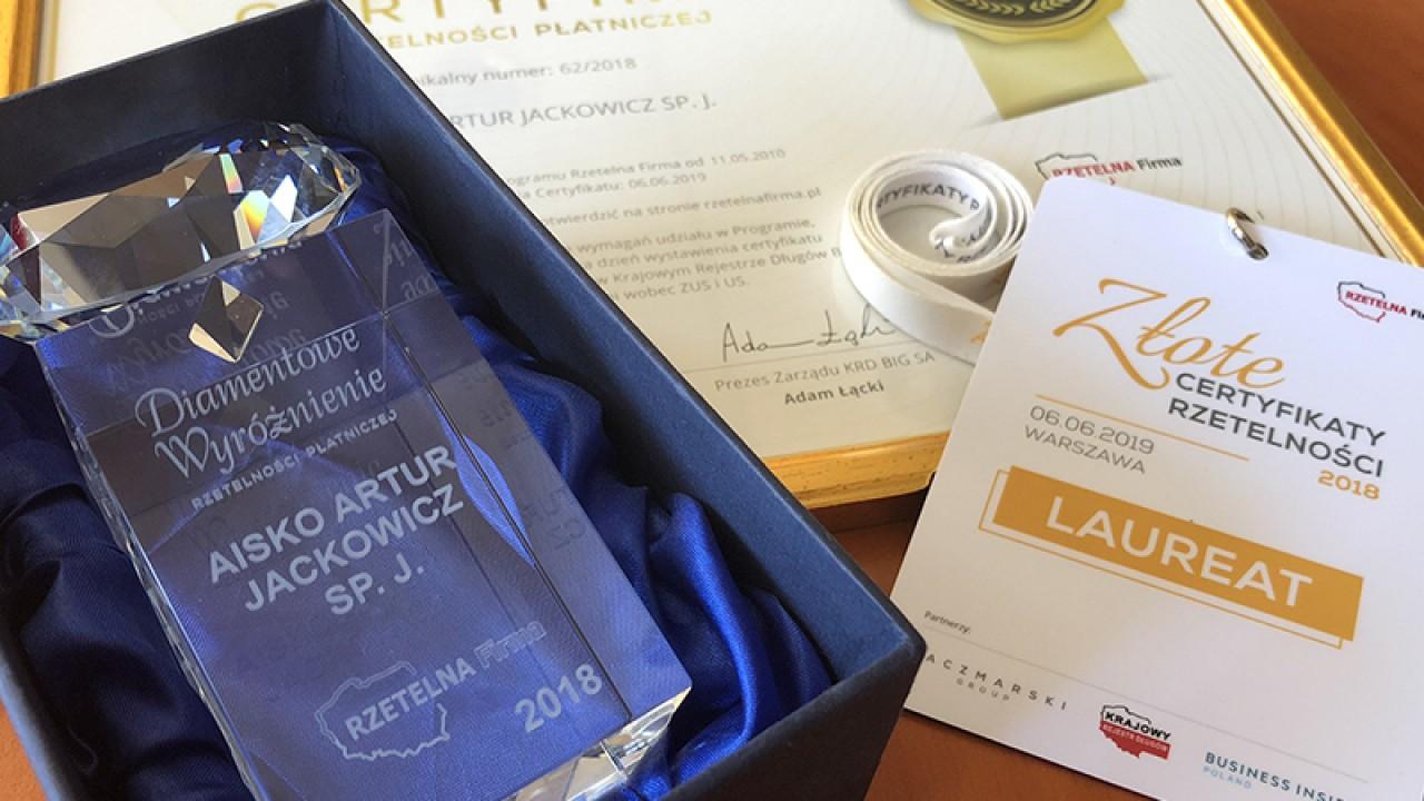 Złoty i Diamentowy Certyfikat Rzetelności dla Aisko