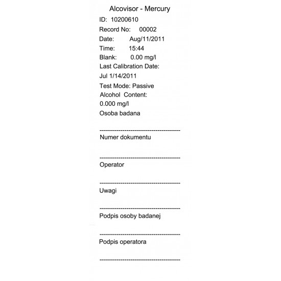 Breathalyzer Alcovisor Mercury with printer